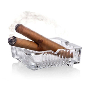 Square Clear Glass Ashtray Fancy Cigar Cigarette Smoker Fancy Table Ash Tray