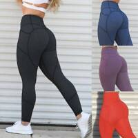 Womens High Waist Yoga Pants Push Up Pocket Leggings Fitness Gym Strech Trousers