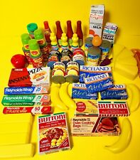 48 PIECES Vintage Toy Pretend Food Lot Real Packaging Bananas Cheese