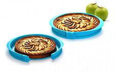 Moule pour tarte à charnière, bleu, avec marque-parts.