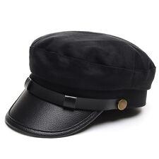 Men Women Army Cadet PU Leather Flat Cotton Hat Buckle Military Navy Sailor Cap