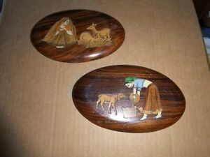 Vintage Asian Inlaid Wooden Wall Plaques (2)