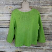Willow Size L Sweater Bright Lime Green Pullover Popover Cropped Womens Cotton