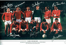 Multi Signed 1968 Manchester United Squad 18x12 Autograph Photo AFTAL COA RARE
