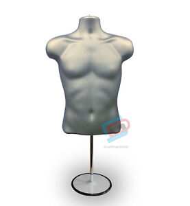 Male Mannequin Display Lingerie Half Body with Round Stand  SILVER Male (sld3/4)