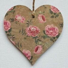 Handmade Wooden Hanging Heart Door Hanger Gorgeous Vintage Flowers Floral Print