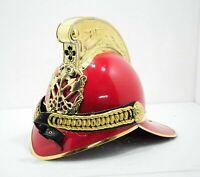 Vintage Fireman Helmet Fire Brigade Chief Helmet Red Finishing Fighter Helmet