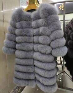 On sale Women Outwear Real Fox Fur Coat Winter Luxury Fur Jacket Horizontal row