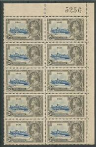 FIJI 1935 KGV Jubilee, 2d. SG 243 block of 10, UM