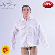 "1/6 Scale Male/Female Soldiers White Shirt Jacket W Pocket Fit 12"" Body Figure"