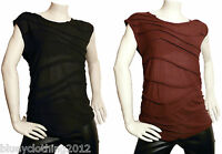 Ladies Ex E-vie Summer Wave Top T-Shirt Black/Maroon Sizes 8 10 12 14 16 18 20