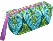 ESTEE LAUDER Leaf Print Green Gold Purple Coloured Makeup Cosmetic Bag