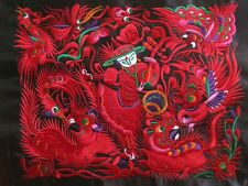 Antique miao hmong machinemade tribal red embroidery Singing and Dancing