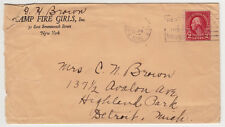 #554 tied to cover, CAMP FIRE GIRLS, New York corner card, 1925 to Detroit MI.