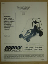 Manco Model 405-202 405-262 405-291 Go Kart Parts List Operators Manual Cart