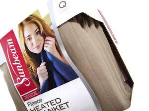 Sunbeam Electric Heated Warming Brown Fleece Queen Blanket 2 Controls New