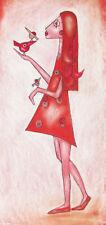 Kunstdruck handsigniert Frau Humor Art Moderne Kunst Comic Kleid Vogel Tier