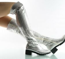 Womens Bling Sequins Nightclub Sexy Strentchy Knee High Boots Dancing Shoes Size