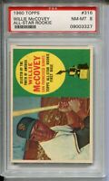 1960 Topps Baseball 316 Willie McCovey Rookie Card Graded PSA NM MINT 8 Centered