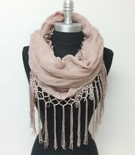 Solid crinkle w/ long knotted viscose fringe Infinity Scarf 2-Circle Wrap Mauve