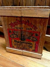 VTG Wooden Budweiser Wall Cabinet Crate Beer Can Display Shelf N
