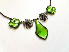Vintage 1920s Art Deco Czech Signed Green Vauxhall Glass Clover Necklace