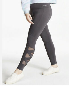 NWT JUSTICE GIRLS DANCE GYMNAST MESH STRAPPY GRAY LEGGINGS SIZE 16/18