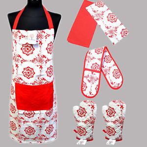 100% Cotton BBQ Cooking Apron Oven Mitt Gloves Tea Towels Xmas Imprint Gift Sets
