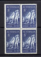 1965 ***MUH*** 8d BLUE - ANZAC - BLOCK of 4 - 50th ANNIV. of GALLIPOLI LANDING.
