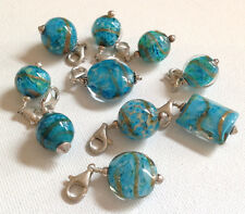 Lela Belle Hand Blown Murano Glass Beads - Set of 10 - Shades of Turquoise B23