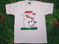 VTG 90s Screen Stars best Sport Golf Cartoon Print T Shirt L Made in the USA
