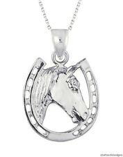 New 14k White Gold Horse Horseshoe Pendant Necklace