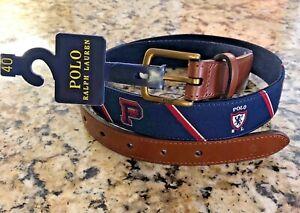 """NWT-POLO RALPH LAUREN Men's Navy """"POLO Varsity"""" Needlepoint Leather Belt - Sz 40"""