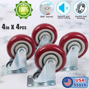 "4 Pack 4 Inch Caster Wheels Swivel Plate on Polyurethane Heavy Duty Wheels 4"""