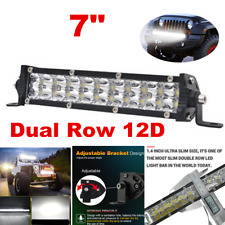 "7"" 100W Dual Row LED Light Bar Spot Beam Fog Light 12V For Offroad SUV ATV 4WD"