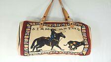 Handwoven Cotton Southwestern Cowboy large handBag Tote purse   Leather Straps