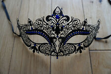 Pretty Venetian Black  Metal Mask Masquerade Blue Diamante Ball. Prom/Ball. UK