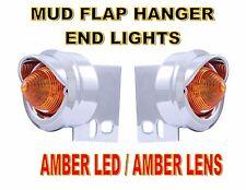9 LED BEEHIVE MUD FLAP HANGER END LIGHT W/VISORS - AMBER LED/AMBER LENS