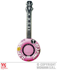 Pink Inflatable Banjo 100Cm Hippy 1970S Fancy Dress Costume Accessory