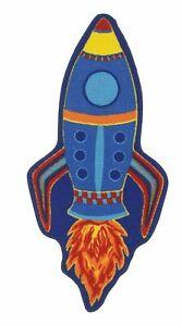 Bambino Multi Coloured Rocket Blue  Washable Childrens Rug 133x62cm
