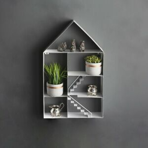 Novelty White Metal House Shelf Floating Home Display Unit Stairs Retro Decor