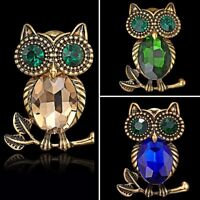 Vintage Gold Crystal Rhinestone Birds Owl Enamel Brooch Pin Women Jewelry Gift