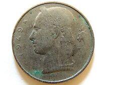 1949 Belgium Five (5) Francs Coin