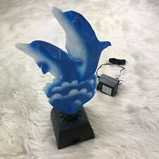Unbranded Blue Dolphin Color Changing Fiber Optic Table Lamp Art Sculpture