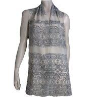 Cabi Top Women Size XL Sleeveless Blouse Split Side V Neck Skrollwork 3091