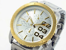 NEW DIESEL TWO,2 TONE STAINLESS STEEL CHRONOGRAPH OVERSIZED WATCH-DZ5321+BOX