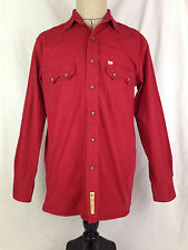 Larry Mahan Western Shirt Mens S Small Red Cowboy Collection Rodeo Rockabilly