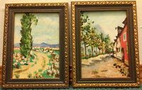 TWO VINTAGE RENZO PAOLETTI ORIGINAL OIL PAINTINGS ITALIAN VILLAGE