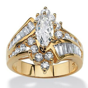 Wedding Engagement Band Marquise Cut Crystal Ring 3.20 TCW White Sapphire