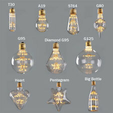 T30 A19 ST64 G80 Diamond Heart,Firework Starry,3W 2200K,Edison LED Filament Bulb